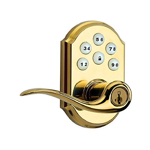 An image of Kwikset 99110-007 Polished Brass Lever Lockset Lock