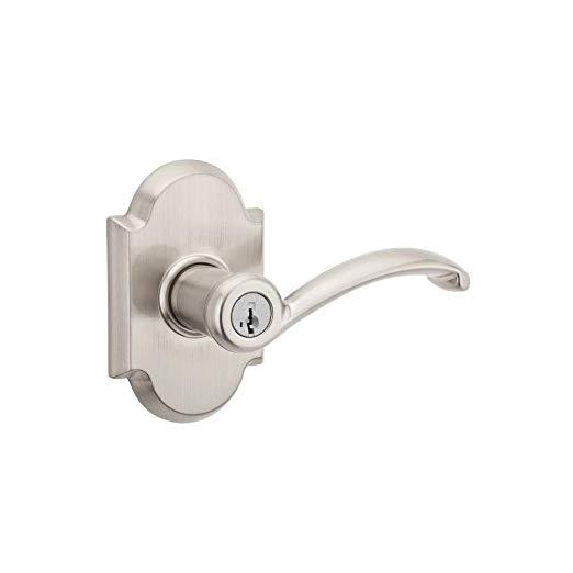 An image of Kwikset 97402-713 Entry Satin Nickel Lever Lockset Lock