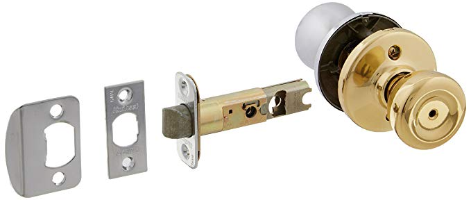 An image of Kwikset 93001-255 Bathroom Privacy Polished Brass Lever Lockset Lock | Door Lock Guide