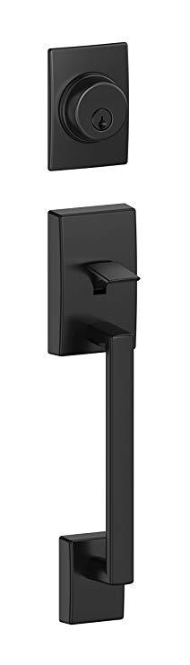 An image of Schlage F58 CEN 622 Entry Black Lock | Door Lock Guide