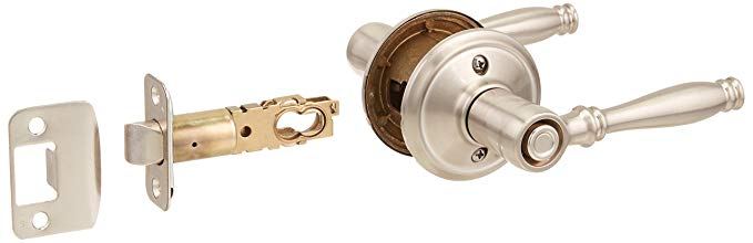 An image of Schlage F40 BIR Bathroom Privacy Satin Nickel Lever Lockset Lock