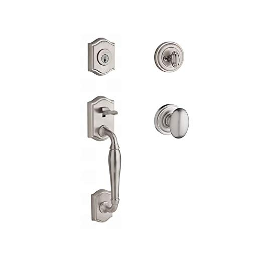 An image of Baldwin 9BR1800-008 Brass Satin Nickel Lever Lockset Lock
