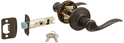 An image of Kwikset 97402-569 Entry Venetian Bronze Lever Lockset Lock