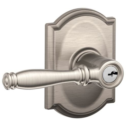 An image of Schlage F51ABIR619CAM Entry Satin Nickel Lever Lockset Lock