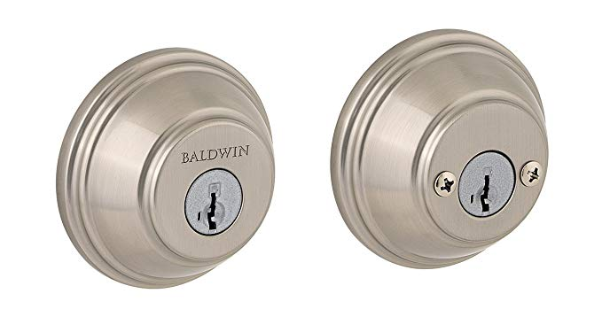 An image of Baldwin 93850-005 Brass Satin Nickel Lock