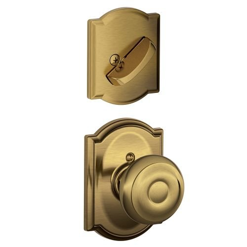 An image of Schlage F59GEO609CAM Brass Lock