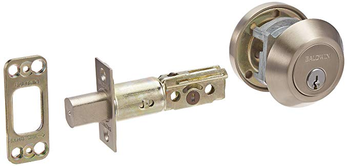An image of Baldwin 8241.15 Brass Satin Nickel Lock