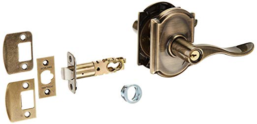 An image of Schlage F51AACC609CAM Entry Brass Lever Lockset Lock | Door Lock Guide