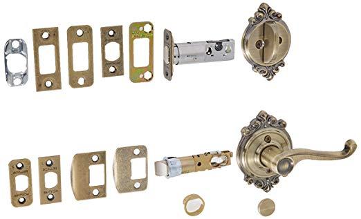 An image of Schlage F59CLT609BRKRH Brass Lever Lockset Lock