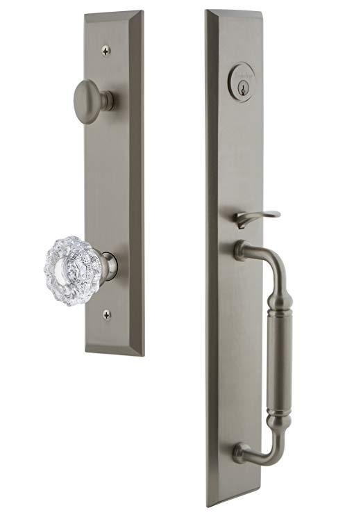 An image of Grandeur 842825 Brass Satin Nickel Lever Lockset Lock