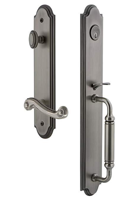 An image of Grandeur 842940 Pewter Lever Lockset Lock | Door Lock Guide