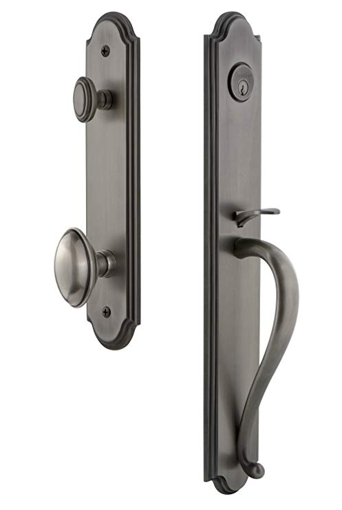 An image related to Grandeur 843902 Pewter Lever Lockset Lock