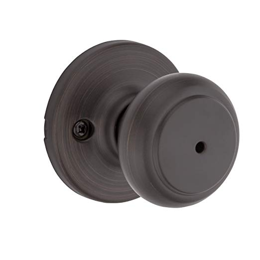 An image of Kwikset 93001-932 Bathroom Privacy Venetian Bronze Lever Lockset Lock