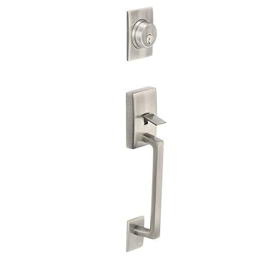 An image related to Schlage F58 CEN Satin Nickel Lever Lockset Lock