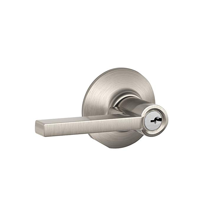 An image of Schlage F51VLAT619 Entry Stainless Steel Lever Lockset Lock