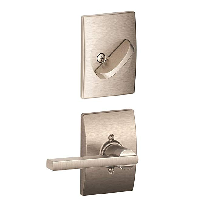 An image related to Schlage F59 LAT 619 CEN Satin Nickel Lever Lockset Lock