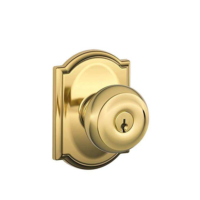 An image of Schlage F51A GEO 605 CAM Entry Brass Lock | Door Lock Guide