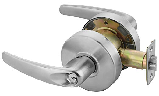 An image of Yale MO4605 LKST 497 2-3/4 626 Storeroom Satin Chrome Lever Lockset Lock