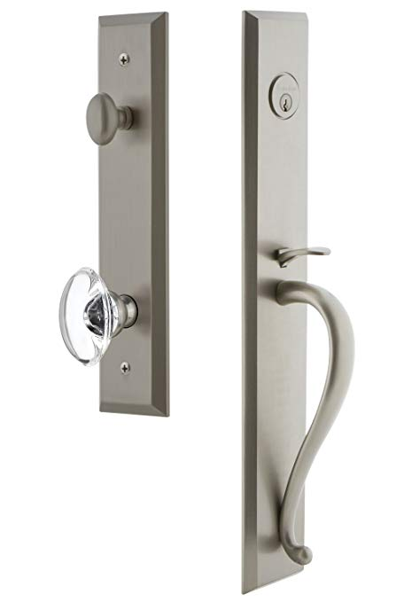 An image of Grandeur 846453 Brass Satin Nickel Lever Lockset Lock