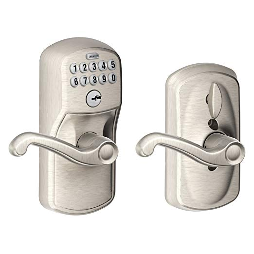 An image of Schlage FE595 PLY House Entry Satin Nickel Lever Lockset Lock