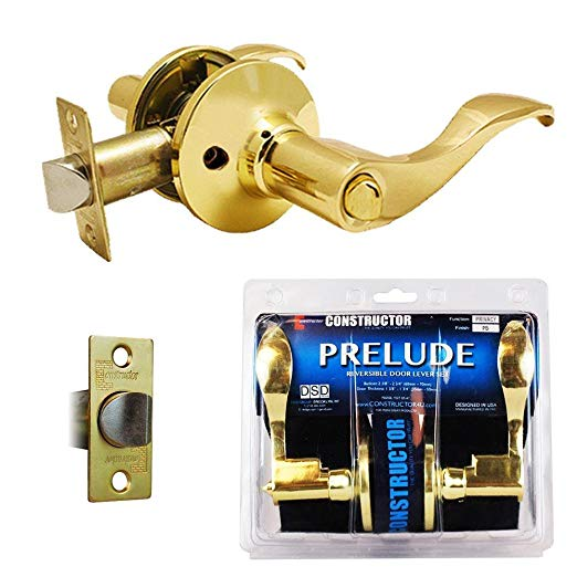 An image related to Constructor CON-PRE-PB-BK Privacy Polished Brass Lever Lockset Lock