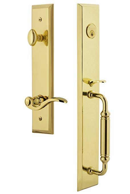 An image related to Grandeur 843179 Brass Lever Lockset Lock