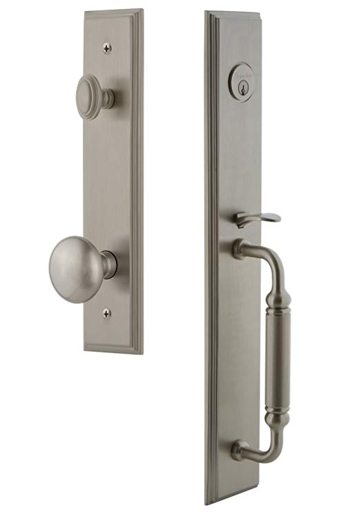 An image of Grandeur 842326 Brass Satin Nickel Lever Lockset Lock