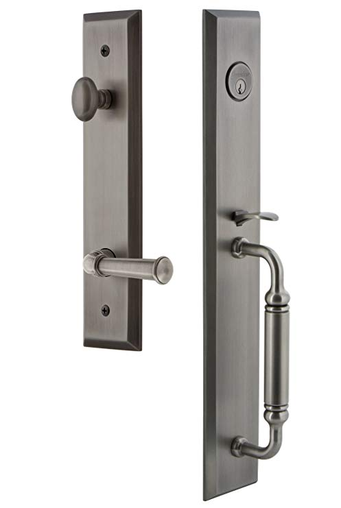 An image of Grandeur 843209 Pewter Lever Lockset Lock | Door Lock Guide