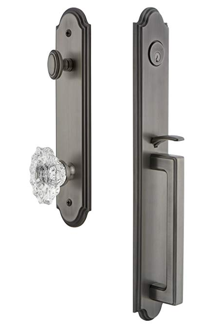 An image related to Grandeur 843535 Pewter Lever Lockset Lock