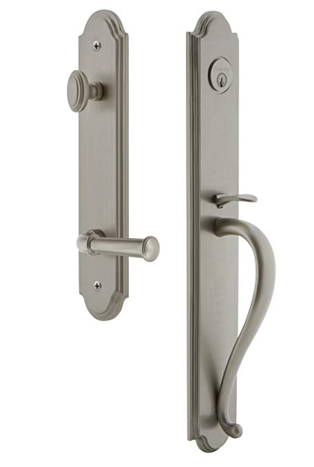 An image of Grandeur 846836 Satin Nickel Lever Lockset Door Lock
