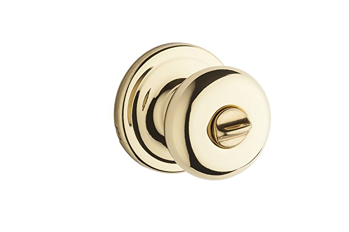 An image related to Kwikset 97300-827 Bathroom Privacy Polished Brass Lever Lockset Lock