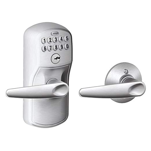 An image of Schlage FE575 PLY 626 JAZ Entry Brushed Chrome Lever Lockset Lock