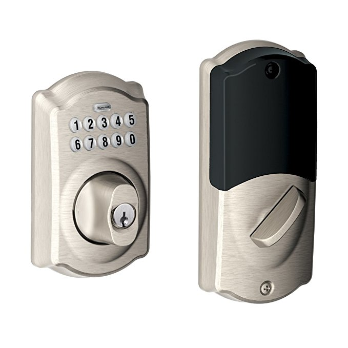 An image of Schlage BE369NX CAM House Entry Satin Nickel Camera Lock