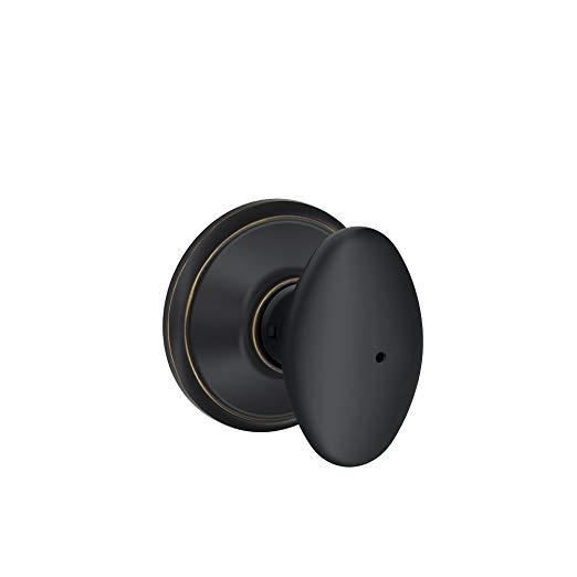An image of Schlage F40VSIE716 Bathroom Privacy Aged Bronze Lock | Door Lock Guide