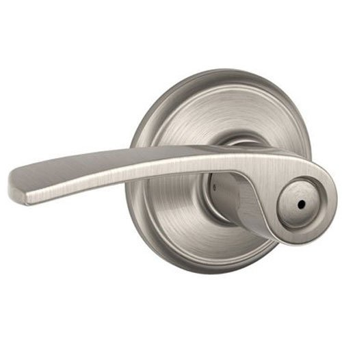 An image related to Schlage F40 MER Bathroom Privacy Satin Nickel Lever Lockset Lock
