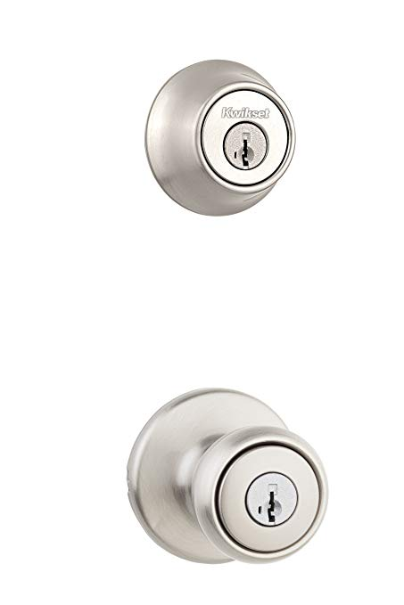 An image of Kwikset 96900-381 Entry Satin Nickel Door Lock