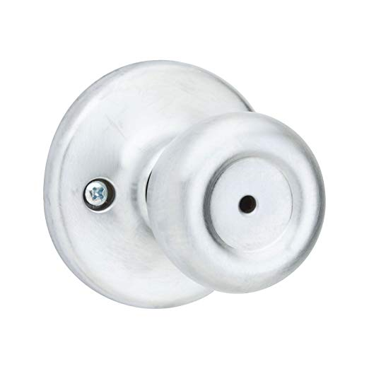 An image of Kwikset 93001-871 Bathroom Satin Chrome Lever Lockset Door Lock