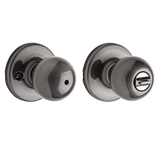 An image related to Kwikset 93001-766 Bathroom Privacy Nickel Lever Lockset Lock
