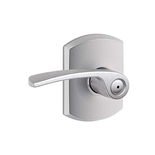 An image of Schlage F40MER626GRW Privacy Satin Chrome Lever Lockset Lock | Door Lock Guide