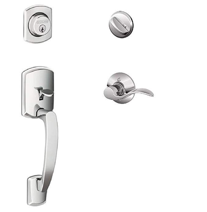 An image of Schlage F60GRW625ACC(LH) Polished Chrome Lever Lockset Lock | Door Lock Guide