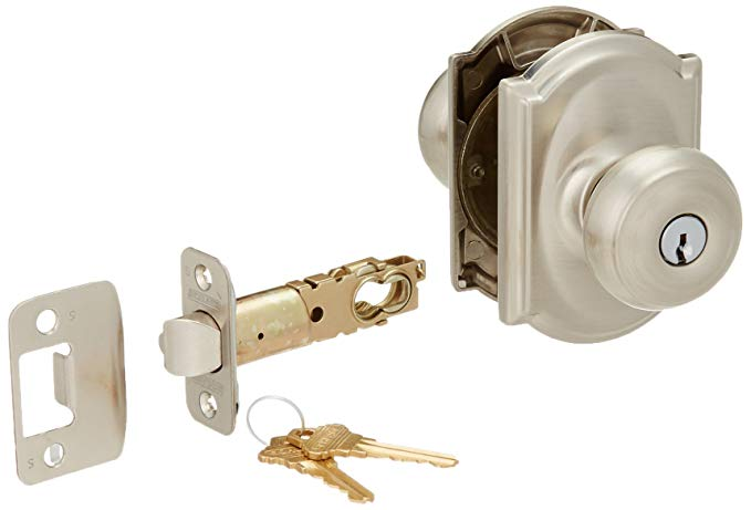 An image related to Schlage F51AGEO619CAM Entry Satin Nickel Lock