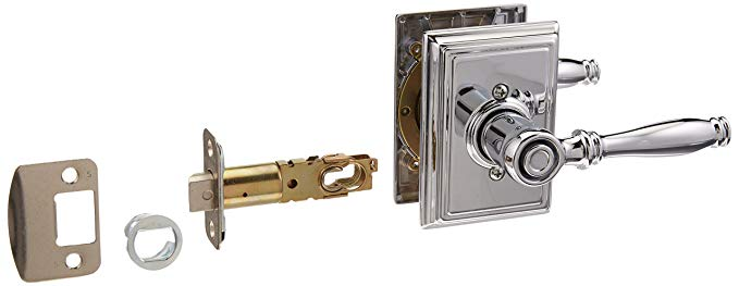 An image of Schlage F40BIR625ADD Bathroom Privacy Polished Chrome Lever Lockset Lock