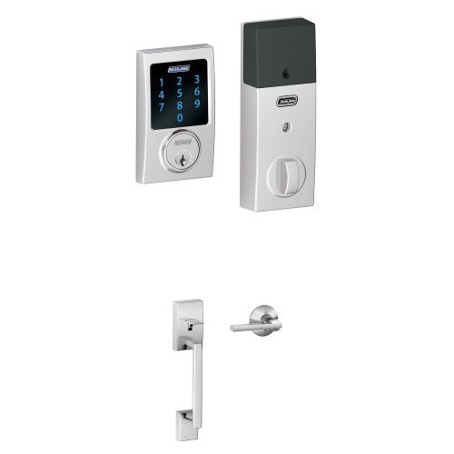 An image of Schlage FBE469NX ACC 619 CAM House Entry Chrome Effect Touchscreen Door Lever Lockset Lock