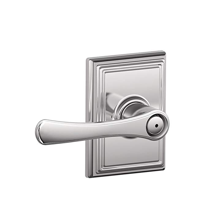 An image related to Schlage F40 VLA 625 ADD 16-080 10-027 134 N N SL Bathroom Privacy Polished Chrome Lever Lockset Lock