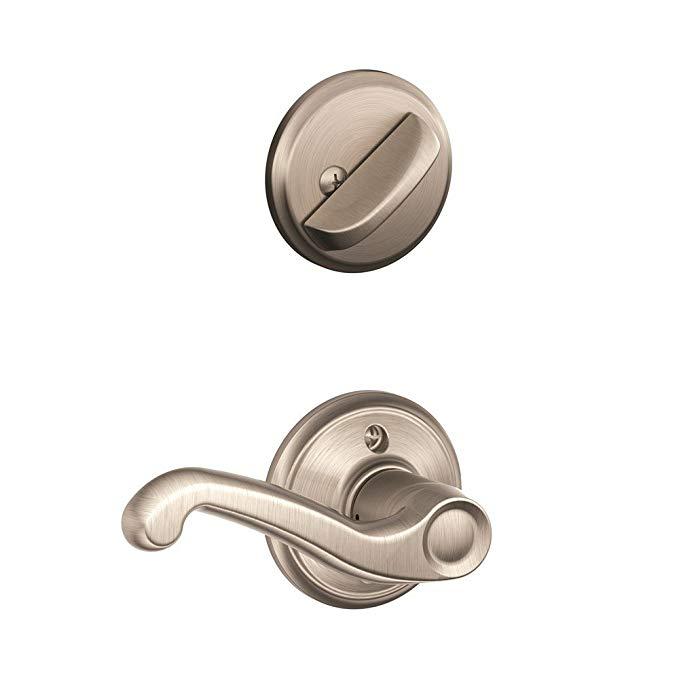 An image related to Schlage F59 FLA 619 RH Satin Nickel Lever Lockset Lock