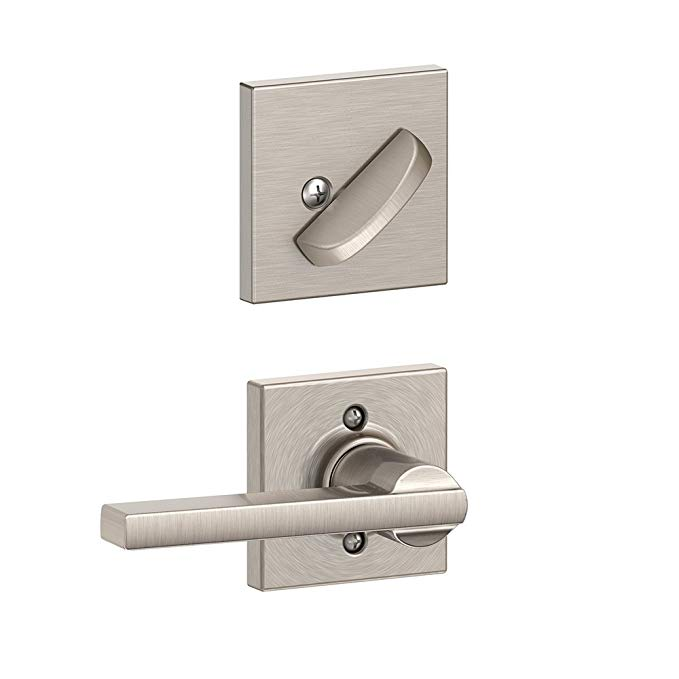 An image of Schlage F59 LAT 619 COL Satin Nickel Lever Lockset Lock | Door Lock Guide