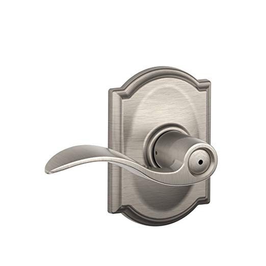 An image related to Schlage F40 ACC Bathroom Privacy Satin Nickel Lever Lockset Lock