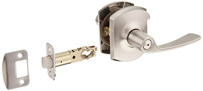 An image related to Schlage F40MER619GRW Privacy Satin Nickel Lever Lockset Lock