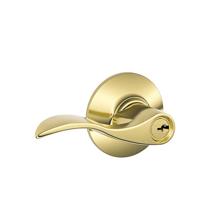An image of Schlage F51A ACC 605 Entry Brass Lever Lockset Lock | Door Lock Guide