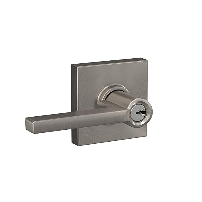 An image of Schlage F51A LAT 619 COL Entry Satin Nickel Lever Lockset Lock | Door Lock Guide